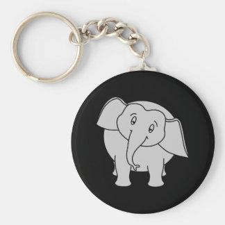 Gray Sleepy Elephant. Cartoon. Basic Round Button Key Ring