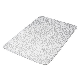 Gray Snow Leopard Cat Animal Print Bath Mat