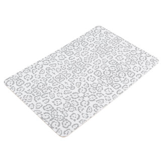 Gray Snow Leopard Cat Animal Print Floor Mat
