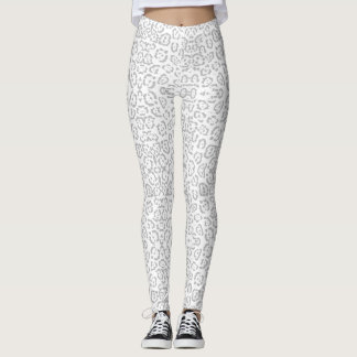 Gray Snow Leopard Cat Animal Print Leggings