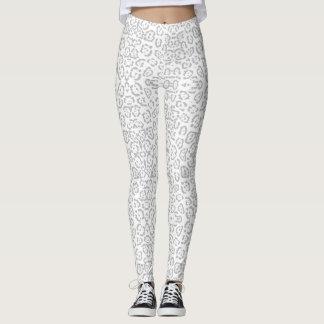 Gray Snow Leopard Cat Animal Print Leggings