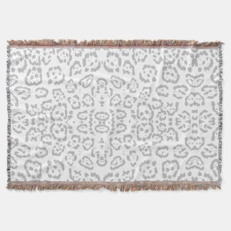 Gray Snow Leopard Cat Animal Print Throw Blanket