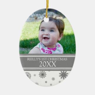 Gray Snow Photo Baby's 1st Christmas Ornament
