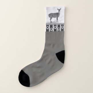 Gray Socks with Deer and Holiday Wreath Trim 1