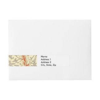 Gray Soft Floral Pattern Artwork Print Flowers Wraparound Address Label