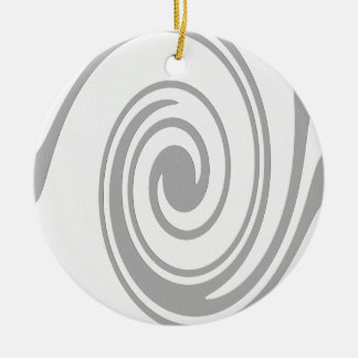 Gray Spiral Pattern Flowing Left to Right Ceramic Ornament