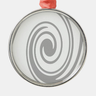 Gray Spiral Pattern Flowing Left to Right Metal Ornament