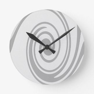 Gray Spiral Pattern Flowing Left to Right Round Clock