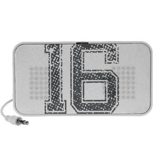 Gray Sports Jersey #16 Laptop Speakers