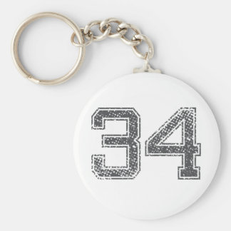 Gray Sports Jersey #34 Basic Round Button Key Ring