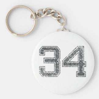 Gray Sports Jersey #34 Key Ring