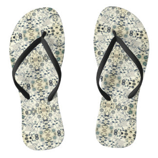 Gray Spring Floral Thongs