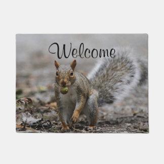 Gray Squirrel with acorn Doormat