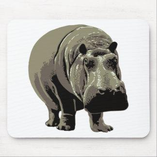 Gray Standing Hippopotamus Mouse Pad