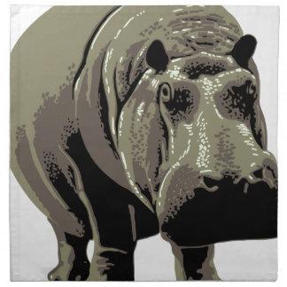 Gray Standing Hippopotamus Napkin
