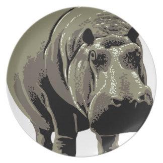 Gray Standing Hippopotamus Plate
