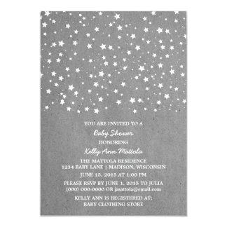 Gray Starry Night Baby Shower Invite