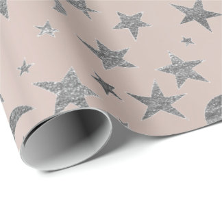 Gray Stars Moon Sky Galaxy Silver Pink Rose Wrapping Paper