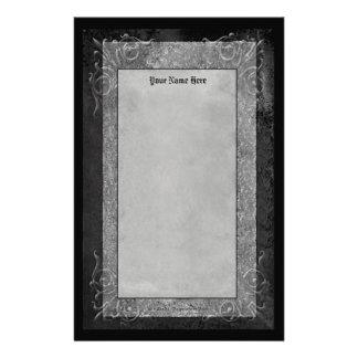 Gray Stone Scrolls Customised Stationery