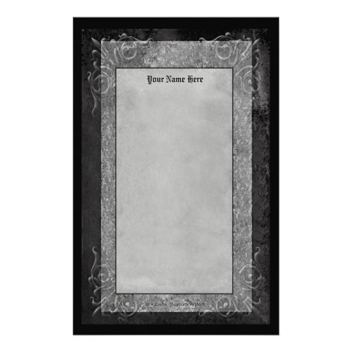 Gray Stone Scrolls Stationery