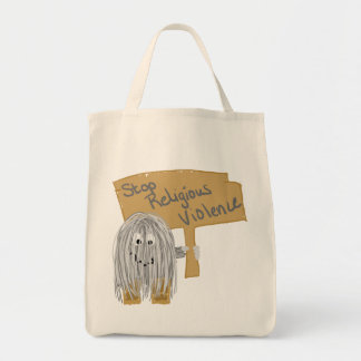 Gray stop religious violence canvas bags