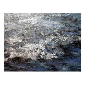 Gray Stormy Beach Painting Ocean Waves Postcard