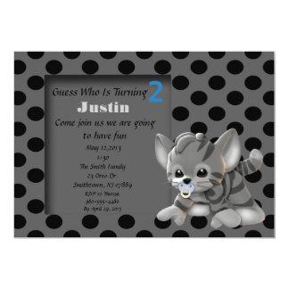 Gray Stripe Kitten 2nd Birthday Invitation