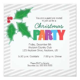 Gray Stripes, Green Holly Christmas Party 13 Cm X 13 Cm Square Invitation Card