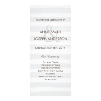 Gray stripes wedding program rack card