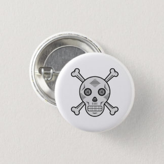 Gray Sugar skull and bones 3 Cm Round Badge