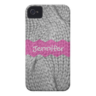 Gray Sweater knit look, Pink monogram iPhone 4/4s iPhone 4 Cases
