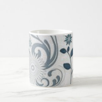 Gray Swirls and Flowers Coffee Mug