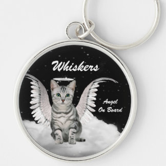 Gray Tabby Angel Cat Sweet Custom Silver-Colored Round Key Ring