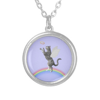Gray Tabby Cat Catching Halo Silver Plated Necklace