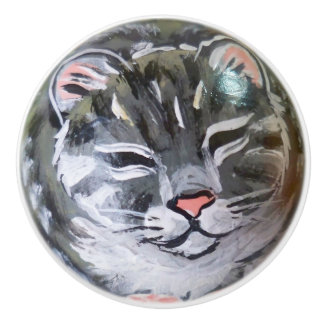Gray Tabby Cat Kitten Drawer Cabinet Door Knob Pul