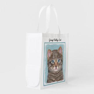 Gray Tabby Cat Painting - Cute Original Cat Art Reusable Grocery Bag