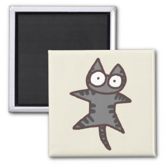 Gray Tabby Cat Square Magnet
