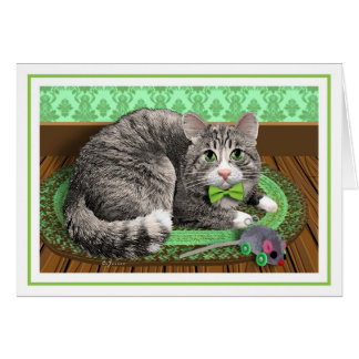 """Gray Tabby in Green"" Card"