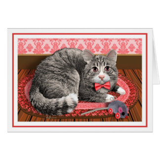 """Gray Tabby in Red"" Card"