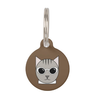Gray Tabby in White Cat's-Eye Sunglasses Cat Tag