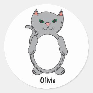 Gray Tabby Kitty Cat Kitten Feline Personalize Classic Round Sticker