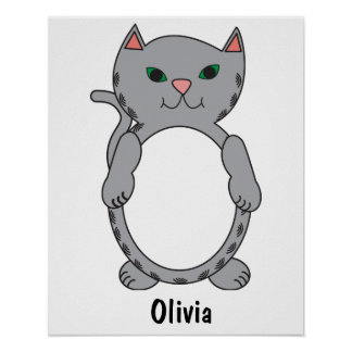 Gray Tabby Kitty Cat Stripes Personalize Poster
