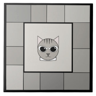 Gray Tabby with Sunglasses, on Gray, Photo Tile