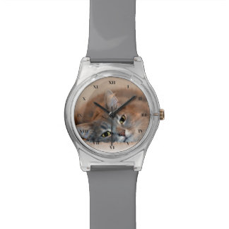 Gray, Tan, White Long-Haired Cat by Shirley Taylor Wrist Watch