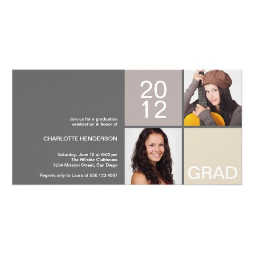 Gray taupe modern block class of grad announcement photo card