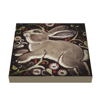 Gray Taupe Rabbit Berries Christmas Canvas Art