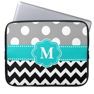 Gray Teal Black Chevron Monogram Laptop Sleeve