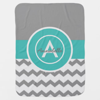 Gray Teal Chevron Baby Blanket