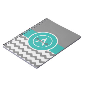 Gray Teal Chevron Notebooks