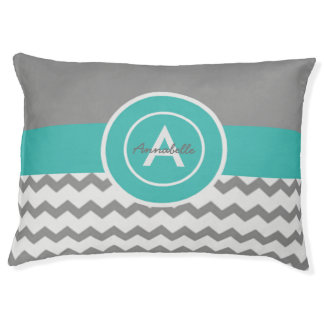 Gray Teal Chevron Pet Bed